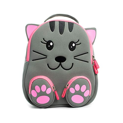 Cocomilo 12' Cute 3D Toddler Kids Backpack for Boys Girls Leash Name Label (Grey cat)