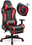 GTRACING Music Gaming Chair with Footrest and Bluetooth Speakers Video Game Chair Heavy Duty Computer Office Desk Chair GT890MF Red (Red)