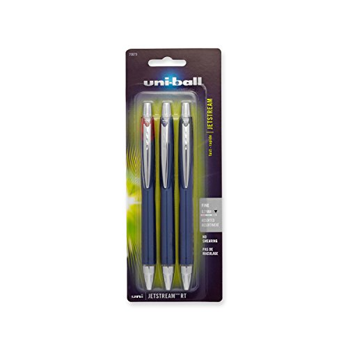 uni-ball Jetstream RT Ballpoint Pens, Fine Point (0.7mm), Assorted Colors, 3 Count
