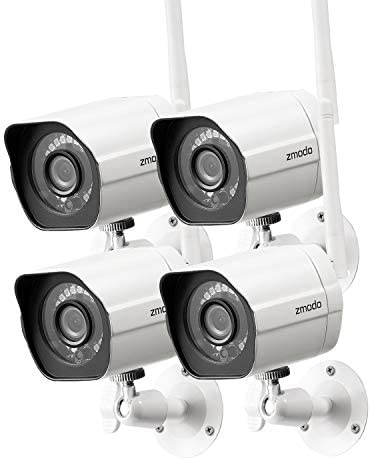 Zmodo Outdoor Security Camera (4 Pack), 1080p Full HD Wireless Cameras for Home Security with Night Vision, Cloud Service Available