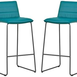 Amazon Brand – Rivet Julian Minimalist Modern Tufted Kitchen Bar Height Stools, Set of 2, 37.8 Inch Height, Synthetic Leather, Aqua Blue