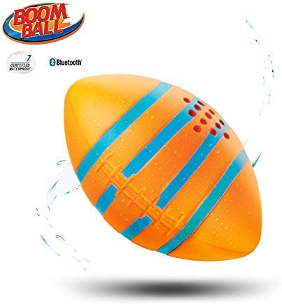 iHip Boomball Football Style Portable Outdoor Bluetooth 4.2 Speaker, Waterproof, Floatable, Shock Proof, Play and Listen to Music- Orange Color