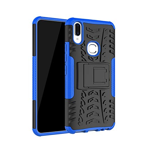 Casodon Kick Stand Cover Hard with Stand Back Cover for Vivo V9 Pro (Blue) 133