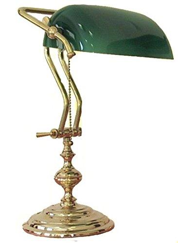 Lampada Da Tavolo Ministeriale Vetro Verde In Ottone Lucido