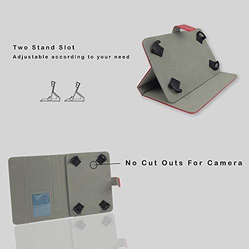 41Tbji66J5L Emartbuy Smart Hard Back Flip Stand Wallet Cover for Amazon Fire HD 7 Tablet : Size (7-8 Inch) - Red Plain