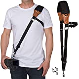 Movo MP-SS7 V2 Rapid Action Camera Sling Strap with Quick Release Clip, Neoprene/Vintage Leather Shoulder Pad Cushion & Bonus Lens Cap Holders for DSLR, Mirrorless Cameras & Binoculars