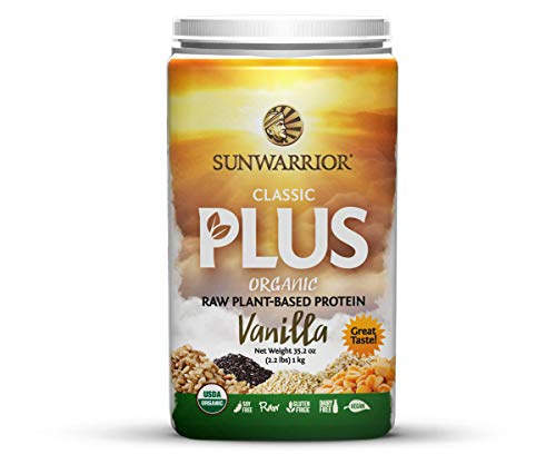 Sunwarrior - Classic Plus, Raw Organic Plant Based Protein, Vanilla, 40 Servings (2.2 lbs)
