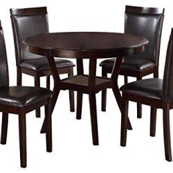 Homelegance Shankmen Round 5-Piece Dining Set, Espresso