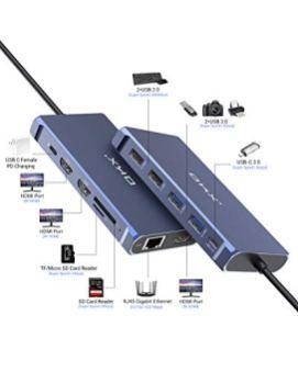 USB-C-Hub-Docking-Station-USB-C-Docking-Station-13-in-1-Triple-Display-Type-C-Hub-for-MacBook-Thunderbolt-3-Windows-100W-PD-3-HDMI-4K-USB-C-Date-Transfer-4-USB-Ports-LAN-SDTF-Reader