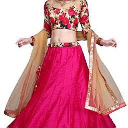 MARUTINANDAN NX Women's Silk Semi-Stitched Lehenga Choli (Gulabo_Beige_Free Size)