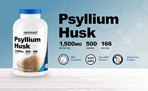 Nutricost Psyllium Husk 500mg, 500 Capsules - 1500mg Per Serving, Non-GMO & Gluten Free 4