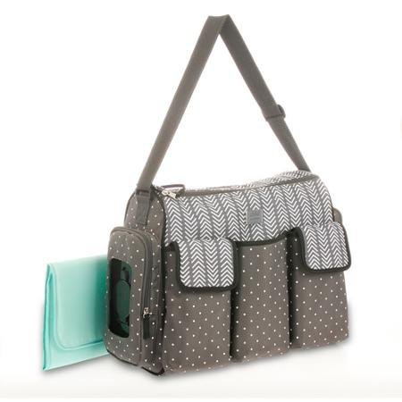 Child of Mine By Carter's 3-pocket Duffle Fashionable Zig Zag Diaper Tote Bag, Gray