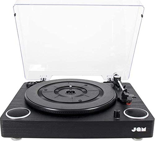 Jam Play Turntable Vinyl Record Player, 3 Speed Belt Drive for Superior Sound, High Quality Ceramic Cartridge, Built in Stereo Speakers, Aux In, RCA Out and Dust Cover