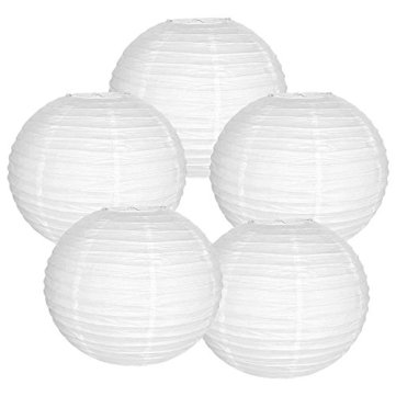 """Just Artifacts 16"""" White Paper Lanterns (Set of 5) - Click for more Chinese/Japanese Paper Lantern Colors & Sizes!"""