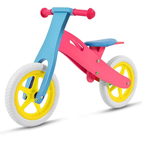 Costzon 12' Wooden No-Pedal Balance Bike Classic Bicycle for Kids from Age 2-5 w/Adjustable Seat (Pink)