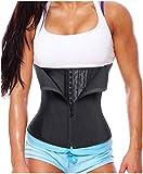 Gotoly Women Latex Waist Trainer Corset Zipper Underbust Cincher Belt Weight Loss Body Shaper (Black, M Fits US 14)