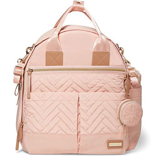 Skip Hop Skip Hop Suite 6-in-1 Diaper Backpack Set, Multi-Function Baby Travel Bag with Changing Pad, Stroller Straps, Bottle Bag and Pacifier Pocket, Vegan Leather, Blush with Gold Trim