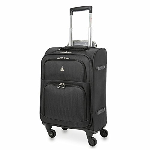 "Aerolite 22x14x9"" Carry On MAX Lightweight Upright Travel Trolley Bags Luggage Suitcase, 4 Wheel Spinner, Maximum Allowance (Black)"