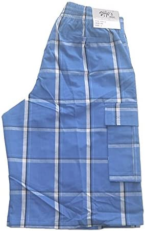 Shaka Wear Men's Men's Cargo Shorts – Casual Plaid Loose Relaxed Loose Fit Elastic Waist Multi Pocket Pants Regular Big S~5XL 4