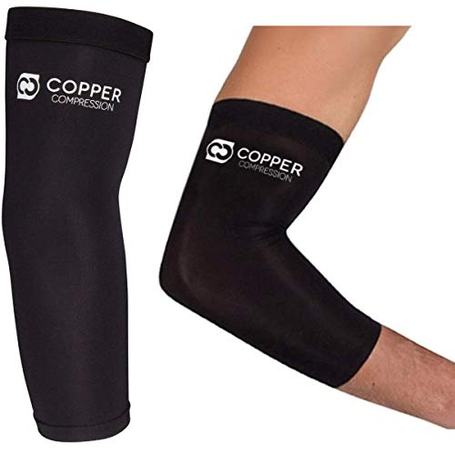 Copper Compression Recovery Elbow Sleeve - Guaranteed Highest Copper Content Elbow Brace Tendonitis Golfers Tennis Elbow Arthritis Copper Infused Fit Elbow Support Arm Sleeves Men Women (Small)