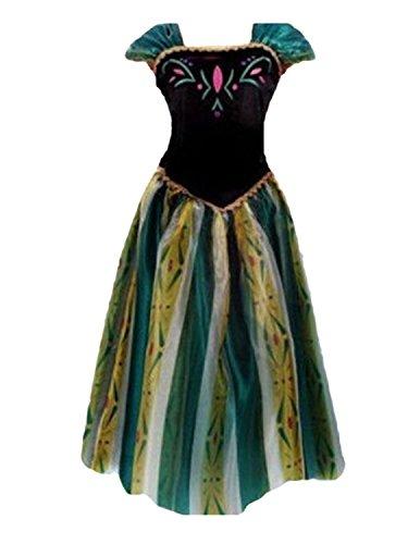 Quesera Women's Anna Costume Frozen Princess Coronation Dress Halloween Costume, White, Tagsize S=USsize XS