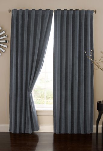 Absolute Zero 11718050X095STB Velvet Blackout Home Theater 50-Inch by 95-Inch Single Curtain Panel, Stone Blue