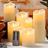 Flameless Candles Flickering LED Candles Set of 7 (D:3' X H:4' 4' 5' 5' 6' 7' 8') Ivory Real Wax Pillar Battery Operated Candles with Dancing LED Flame &10-Key Remote and Cycling 24 Hours Timer