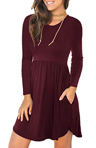 Unbranded* Women's Long Sleeve Loose Plain Dresses Casual Short Dress with Pockets Wine Red X-Small