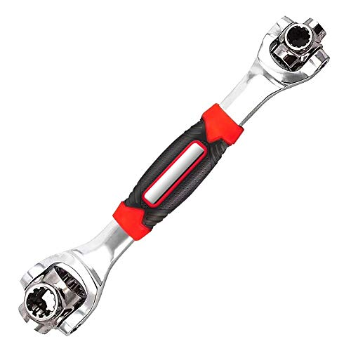 DFUTE 48-in-1 Multifunctional Socket Wrench,Multi-angle Wrench with 6 Corners, 360-Degree Rotating Head,Rubber Handle