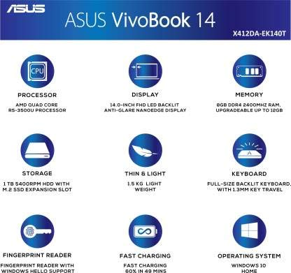 ASUS VivoBook 14 X412DA-EK140T AMD Quad Core Ryzen 5-3500U 14-inch FHD Thin and Light Laptop (8GB RAM/1TB HDD/Windows 10/Integrated Graphics/Backlit KB/FP Reader/1.50 Kg), Transparent Silver 3