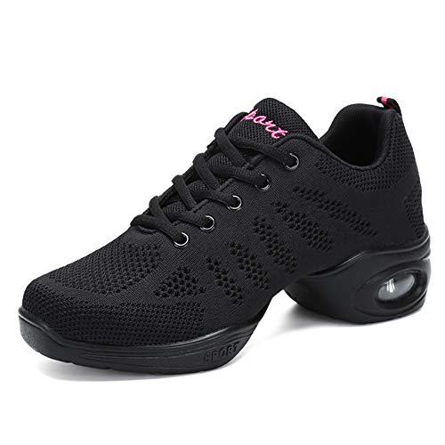 Women's Jazz Shoes Lace-up Sneakers - Breathable Air Cushion Lady Split Sole Athletic Walking Dance Shoes Platform Black,6.5