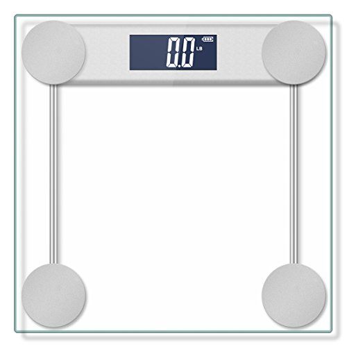 400lb / 180kg Electronic Bathroom Scale with Tempered Right Angle Glass Balance Platform and Advanced Step-On Technology, Digital Weight Scale has Large Easy Read Backlit LCD Display …