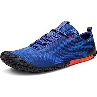 TSLA Men's Trail Running Shoes, Lightweight Athletic Zero Drop Barefoot Shoes, Non Slip Outdoor Walking Minimalist Shoes Men's Trail Running Shoes