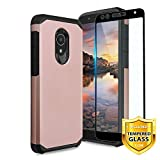 TJS Case for Alcatel Avalon V 5059S/Alcatel 1X Evolve/Alcatel IdealXtra 5059R/Alcatel TCL LX A502DL with [Full Coverage Tempered Glass Screen Protector] Hybrid Shockproof Phone Armor Cover (Rose Gold)