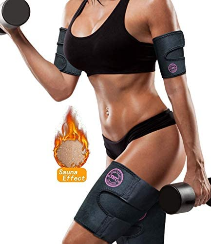 Arn Trimmers & Thigh Trimmer for Women & Men (4-Pack) - Increases Heat & Sweat Production - Sweat Band, Shaper & Slimmer - Arm & Thigh Toner Bands for Workout - Sweat Belt & Body Wraps for Weight Loss 1