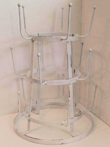 Glory & Grace Rustic Iron French Wine / Beer / Baby Bottle Dryer Tree Glass Cup Drying Rack, French White
