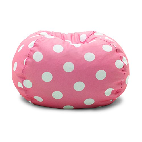 Big Joe 0630251 Candy Pink Polka Dot Classic Bean Bag Chair, White