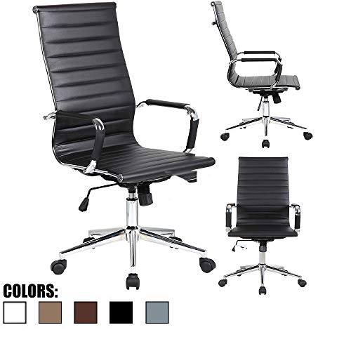 2xhome - Modern High Back Tall Ribbed PU Leather Swivel Tilt Adjustable Chair Designer Boss Executive Management Manager Office Conference Room Work Task Computer