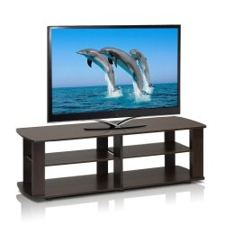 Furinno Nelly Entertainment Center TV Stand, Short 43.3″(W) x13.4(H) x13.1(D), Dark Brown