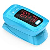 [New Version] iProvèn Pulse Oximeter Fingertip - Oxygen Saturation Monitor - with Heart Rate Detection - incl. Batteries, Case and Lanyard - iProven OXI-27 Blue