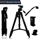Lightweight Travel Tripod 48 Inch | Bluetooth Remote, Phone Mount, GoPro Mount, Carrying Bag | Premium Aluminum | Digital Camera, Android, DSLR, iPhone X, 8, 7, 6 Plus, Samsung Galaxy | Photo, Video