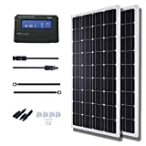 KOMAES 200 Watts 12Volts Monocrystalline Solar Panel Kit with 20Amp PWM Solar Charge Controller, 20ft Tray Cable, 20ft MC4 Cable,Z Brackets for RVs,Trailers,Boats,Sheds,Cabins