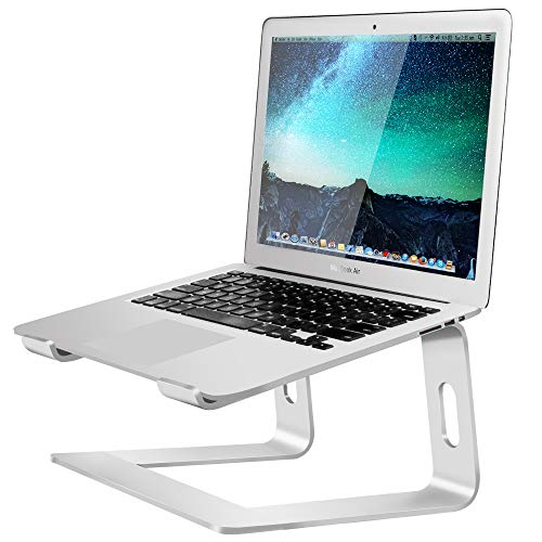 Soundance Aluminum Laptop Stand for Desk Compatible with Mac MacBook Pro/Air Apple 12' 13' Notebook, Portable Holder Ergonomic Elevator Metal Riser for 10 to 15.6 inch PC Desktop Computer, LS1 Silver
