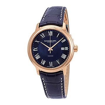 Raymond Weil Men's Maestro Stainless Steel Automatic-self-Wind Watch with Leather Calfskin Strap, Blue, 0.2 (Model: 2237-PC5-00508)