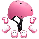 7Pcs Kids Protective Gear Set Kids Bike Helmet Knee Elbow Pads Wrist Guards Pads for 3-8 Years Boys Girls Cycling Scooter Skateboard Rollerblading Hoverboard Child Sports Protective Gear (Pink)