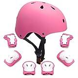 7Pcs Kids Protective Gear Set Kids Bike Helmet Knee Elbow Pads Wrist Guards Pads for 3-8 Years Boys Girls...