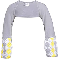 Scratch Me Not Flip Mitten Sleeves - Baby Boys' Girls' Stay On Scratch Mitts,Gray Argyle,6Years