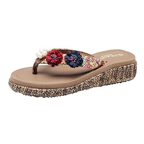 Women Bohemia Slippers,HOSOME Women's Beach Shoes Female Summer Fashion Sandals Flowers Flip Flops Wine
