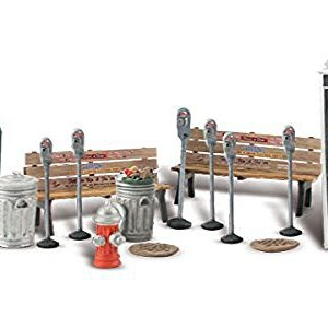 Woodland Scenics Street Accessories (Benches, Fire Hydrants, Parking Meters etc.) O Scale 41Uflp01S3L