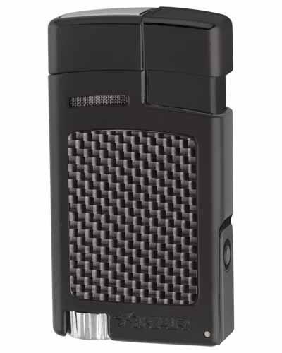 Forte Single Torch Flame Cigar Lighter - Black Carbon Fiber